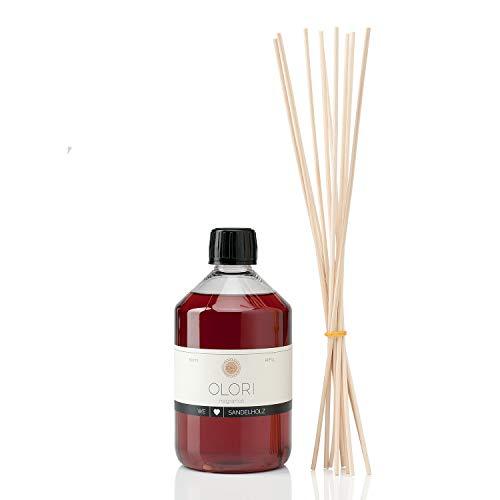 OLORI Refill Raumduft Nachfüllflasche - Sandelholz - 500 ml - inklusive 10 Stäbchen - verschiedene Düfte - weich, markant, holzig