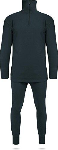 Thermofleece Unterwäsche Set mit Reißverschluss Farbe Schwarz Größe XL