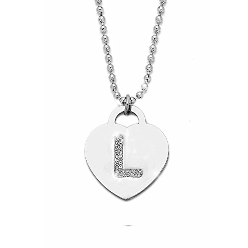 Collana con ciondolo da donna in acciaio con cristalli con lettera iniziale - pendente a forma di cuore con lettera dell'alfabeto - collana con catenina lunga 90 cm - argento e cristalli (L)