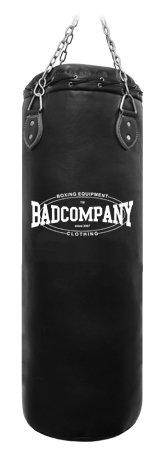 Bad Company Boxsack inkl. Heavy Duty Vierpunkt-Stahlkette I Vinyl Punching Bag, gefüllt I 80 x 35 cm - Schwarz
