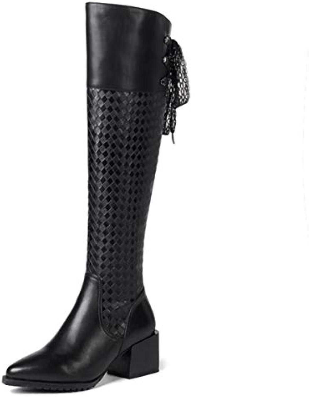 DANDANJIE Stivali Stivali Donna Tacco Alto con Cerniera a a a Punta Toe Block Heel Stivali per Autunno Inverno Nero... | Per tua scelta  6d427a