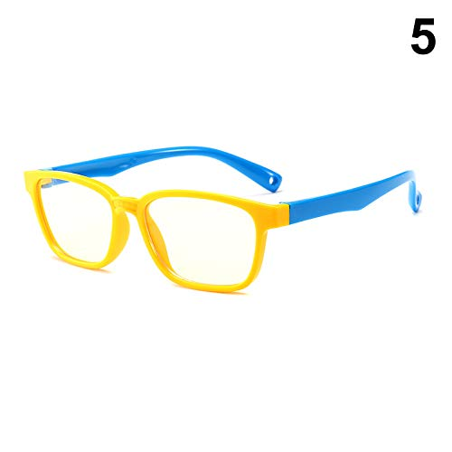 Fishyu 1 Pcs Children Kids Anti Blue Ray Glasses Silicone Frame Flat Anti-Radiation Clear Lens