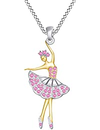 a7387bccea AFFY - Collana con Ciondolo a Forma di Ballerina in Finto tormalina Rosa in  Oro 18