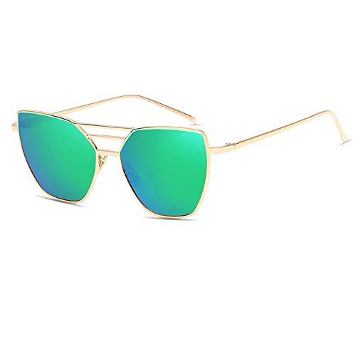 Dilunsizrf Classic Aviator Mirror Lens Sonnenbrille mit UV400-Schutz, Regenbogen-Sonnenbrille, Herren- / Damen-Sonnenbrille mit UV 400-Schutz, Anzug für Outdoor-Aktivitäten,Goldframegreensilver
