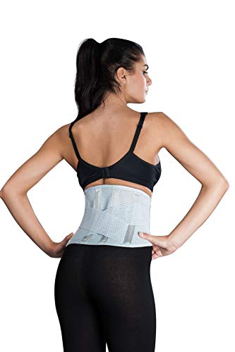 """Atmungsaktive Rückenbandage, Rückenstütze""""LOREY-LU10077"""" aus elastischem Netzgewebe Größe M Farbe Silber"""