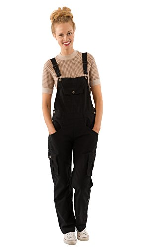Uskees Daisy Women's Black Cotton Dungarees Loose Fit Roll-up Leg Overalls DAISYBLACK