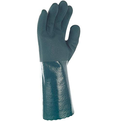 Gants SYNTHETIQUES PVC Vert DBLE ENDUC. 35 CM 8.5-9