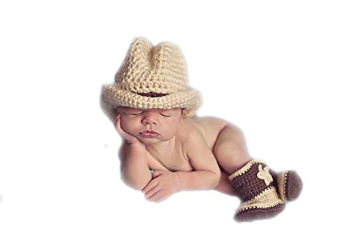 DELEY Baby Kleinkinder Cowboy-Hut Stiefel Mütze Mit häkeln stricken Kostüm Set Foto Fotografie Requisiten für (Neugeborene Cowboy Hut)