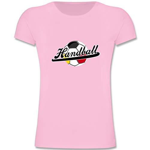 Handball WM 2019 Kinder - Handball Deutschland - 152 (12-13 Jahre) - Rosa - F131K - Mädchen Kinder T-Shirt