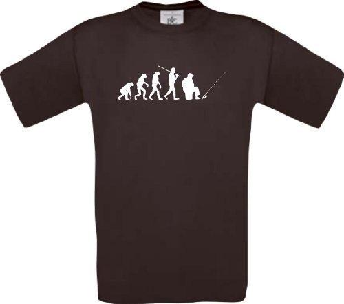 ShirtInStyle T-Shirt Evolution Angler angeln Fischen spezial Edition, Farbe braun, Größe XL (Ash Evolution Grey-t-shirt)