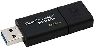 Kingston DT100G3/64GB DataTraveler 100 G3, USB 3.0, 3.1 Flash Drive, 64 GB, Noir