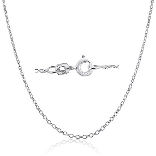 Kezef 925 Sterling Silver 1.3mm Cable Chain Necklace Made In Italy