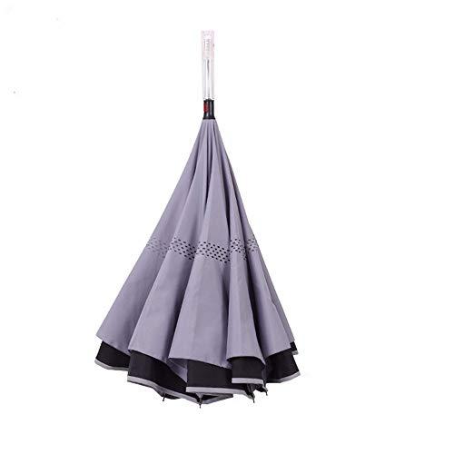 pyty123-umbrella Regenschirm Led-Sicherheitsbeleuchtung Rückschirm Doppelt Automatischer Langer Griff Regenschirm Männer Und Frauen Regenschirm Kreativer Wind Regenschirm