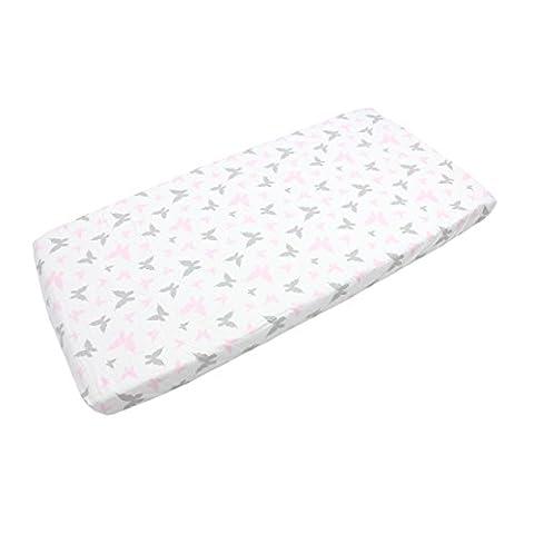 Baby Spannbettlaken 90x40, 70x140, 90x200 Bettlaken mit Gummizug 100% Baumwolle Kinder Spannbetttuch, Farbe: Schmetterlingchen Rosa, Größe: 90 x 200