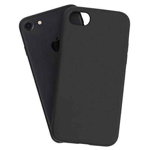 iPhone 8 Hülle, iPhone 7 Hülle, Schwarze Haltbare Stoßabsorbierende Gummihülle mit Exzellenter Griffigkeit – Stark & Schützend und Leicht & Schlank Schutzhülle | totallee (Schwarz) (Klassische Hipster Brieftasche)