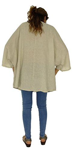 Mein Design Lagenlook de Mallorca Damen Tunika IA900 Leinen Bluse Oversize 3/4 Arm Vintage Gr. 46, 48, 50, 52 Beige