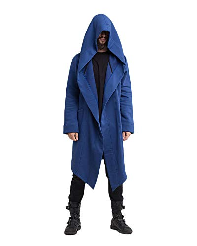 LiangZhu Herren Mantel Mittelalterlichen Jacke Renaissance Formalen Frack Halloween Kostüm Mit Kapuze Strickjacke Blau M