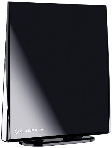 Oehlbach Digital Flat 2.5 | Aktive DVB-T & DVB-T2 HD Antenne mit omni-direktionalen Empfang | Rauscharm & abnehmbarer Verstärker - schwarz