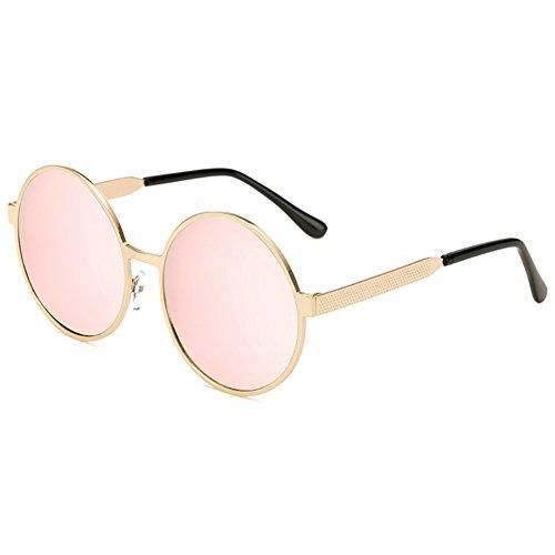 hibote Lunettes de soleil Rondes Femmes Metal Frame UV400 Lunettes Or/cerise rose