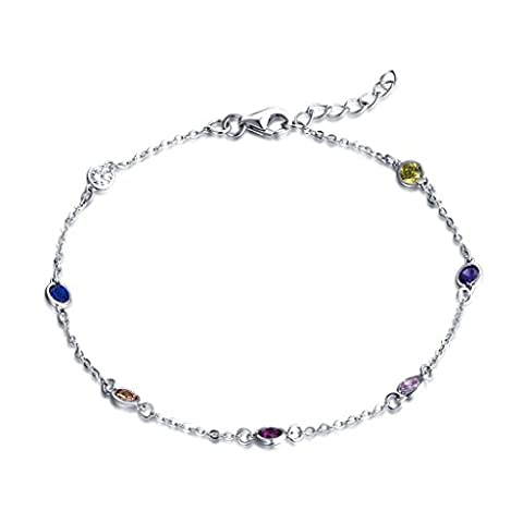 YL Silver Bracelet-925 Sterling Silver White Gold Plated and Colourful Cubic Zirconia Stones Bracelet for Women and Teenage Girls, Chain 18-20 cm (7-8 inches)