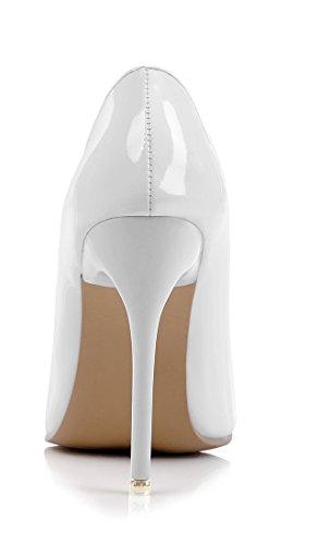 UH Escarpins Femmes Sexy et Chic à Talon Haut Aiguille de 10 CM Bout Pointu Luxueuses et Elégantes Blanc