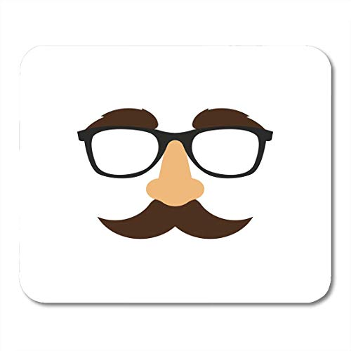 Deglogse Gaming-Mauspad-Matte, Mustache Black Fake Glasses Nose Mask White Funny Halloween Mouse Pad,Desktop Computers Mouse Mats, (Lustige Pic Halloween)