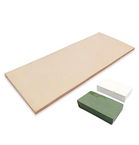 Cuir d'affûtage pour rasoir 7,6x 20,3cm - 56,7gComposé vert et blanc.