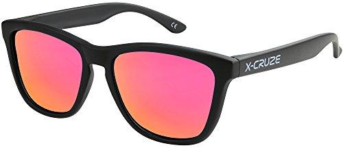 X-CRUZE® 9-072 X0 Nerd Sonnenbrillen polarisiert Style Stil Retro Vintage Retro Unisex Herren Damen Männer Frauen Brille Nerdbrille - schwarz matt LW/pink-orange verspiegelt