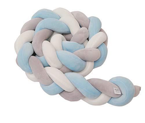 HB.YE Bettumrandung Kinderbett Baby Krippe Baby Nestchen Weben Bettumrandung Kantenschutz Kopfschutz für Babybett Bettausstattung Kinderbett Stoßstange (200cm, Blau&Weiß&Grau) -