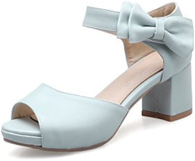 YFF Donna Sandali Casual in Similpelle Tacco Bowknot Hook & Loop,blu,US5.5 | Varietà Grande  | Maschio/Ragazze Scarpa