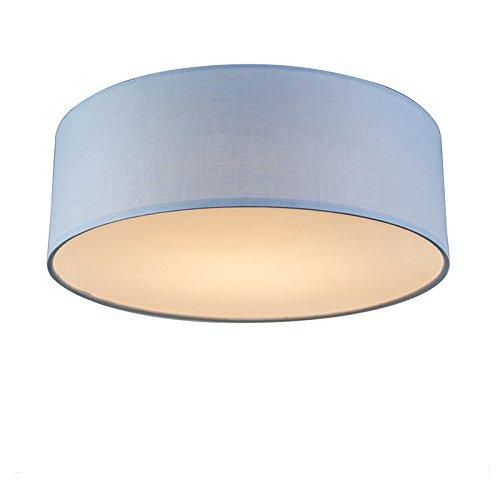 QAZQA Modern Deckenleuchte/Deckenlampe/Lampe/Leuchte Drum mit Schirm LED 30 blau/Innenbeleuchtung/Wohnzimmerlampe/Schlafzimmer/Küche Metall/Textil Rund / (nicht austauschbare) LED Max.