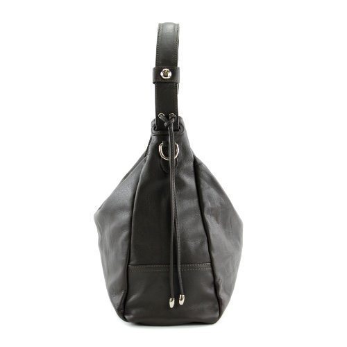 modamoda de - ital. Tasche Damentasche Handtasche Schultertasche Ledertasche Nappaleder G08 Dunkelbraun