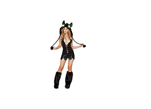 Schwarz vorne offen Kapuzen Furry, figurbetontes Kleid Sexy (Kostüme Furry Sexy)