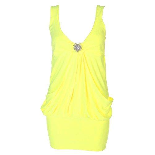 Neue Damen Mini Fall Brosche Kleid Damen Party Club Kleid Top Größe. UK 8–22 Gelb - Neon Gelb