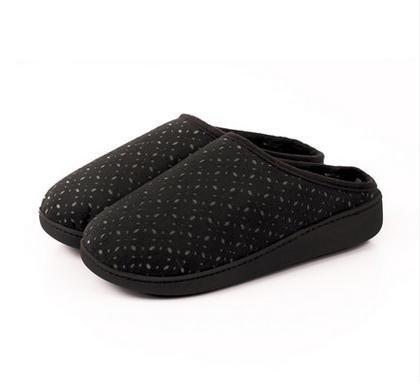 En automne et en hiver, maison pantoufles, femmes, coton, doux, confortable, chaud, insipide, peluche, semelle épaisse, anti-dérapant black (slippers)