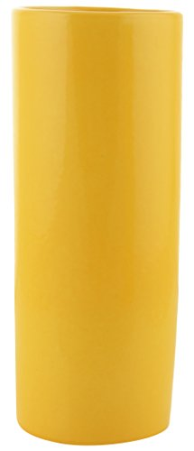 Woodenclave Yellow Ceramic Cylindrical Flower Vase