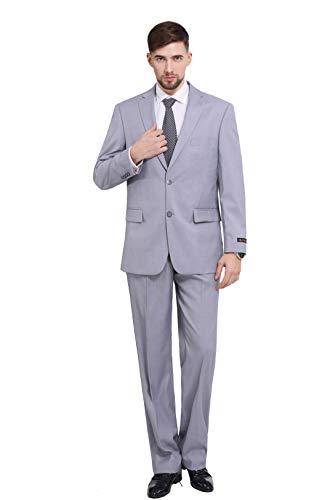 P&L Herren 2-teiliges Büro-Kleid mit 2 Knöpfen, Blazer und Plissee-Hose - Grau - 46 Kurz - 36s Wolle