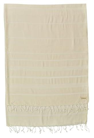 Bersuse 100% Baumwolle - Anatolia XL Decke Türkisches Handtuch - Mehrzweck Bett- oder Sofa-Überwurf, Tischdecke oder als Picknickdecke - Badestrand Fouta Peshtemal - Klassisches gestreiftes Pestemal - 155 X 210 cm, Wollweiß