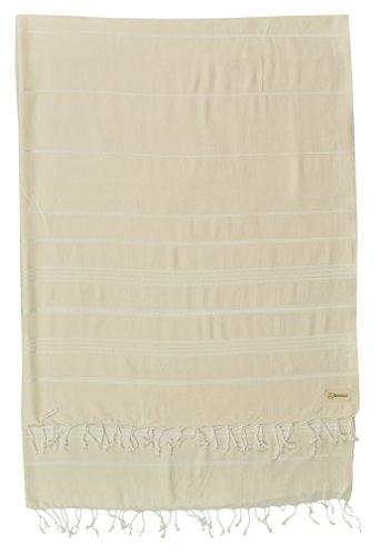 Bersuse 100% Baumwolle - Anatolia XL Decke Türkisches Handtuch - Mehrzweck Bett- oder Sofa-Überwurf, Tischdecke oder als Picknickdecke - Badestrand Fouta Peshtemal - Klassisches gestreiftes Pestemal - 155 X 210 cm, Wollweiß (Gestreiften Robe Baumwolle)
