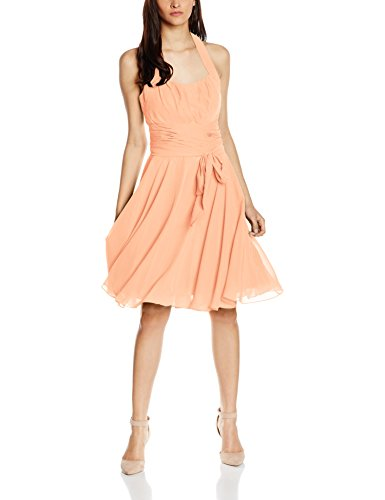 Astrapahl Damen Cocktail Kleid Neckholder, Knielang, Einfarbig, Gr. 38, Orange (Mango)