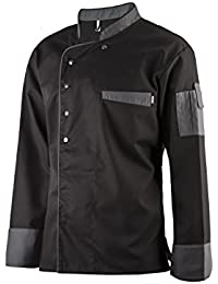 Clinotest Kochjacke, Bäckerjacke, Langarm mit Druckknopfverschluss, in der Farbe Black, Modern Style