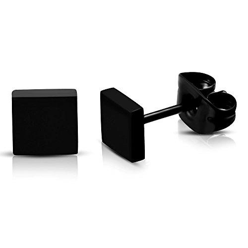 Schwarze Edelstahl Ohrstecker Ohrringe Eckig für Damen und Herren 5mm (2 Stück / 1 Paar)