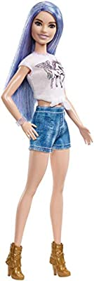 Barbie FJF48 Fashion and Beauty Fashionistas Doll-Purple Glitter Hair-Original with Blue Shorts Gifts for 2 to 5 Years Children and Fabulous Accessories, Multi-Colour