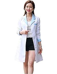 ESENHUANG Manga Larga Mujeres Abrigo Médico Servicios De Enfermería Uniforme Médico Scrub Ropa Blanco Laboratorio De