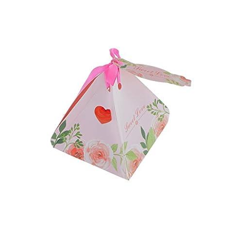 Generic 50pcs Boîte à Dragées Bonbonnière de Cadeau Imprimé Fleur avec Ruban Carte de Voeux pour Party Mariage Anniversaire - Rose