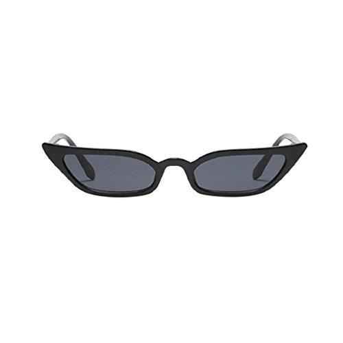 Frauen Katzenaugen Sonnenbrille,EUzeo Retro Kleine Rahmen UV400 Brillen,Vintage Brille (Schwarz)