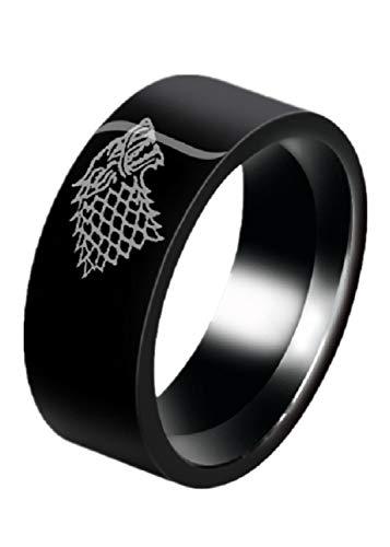 Wolfskopf Ring Power Game Ring Eiswolfkopf Ring Wolfskopf Wolfskönig Unisex Ring,Black,11