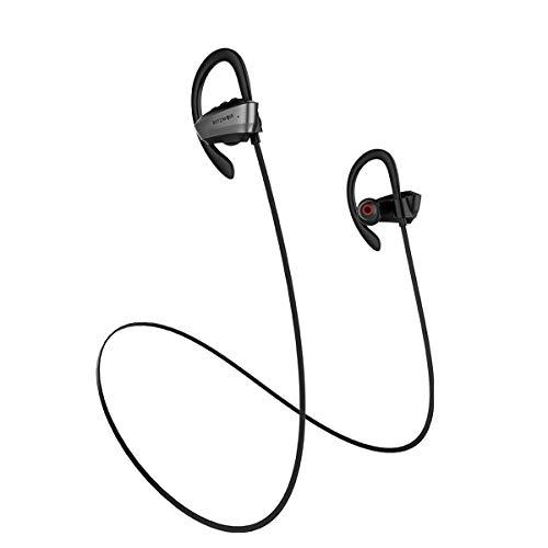 Bluetooth Kopfhörer, BlitzWolf IPX5 Wasserdicht Bluetooth 4.1 Wireless Kabelloser Sport Kopfhörer Ohrhörer 7H Spielzeit mit Mikrofon für Fitness Laufen Kompatibel mit iPhone Samsung (Schwarz)