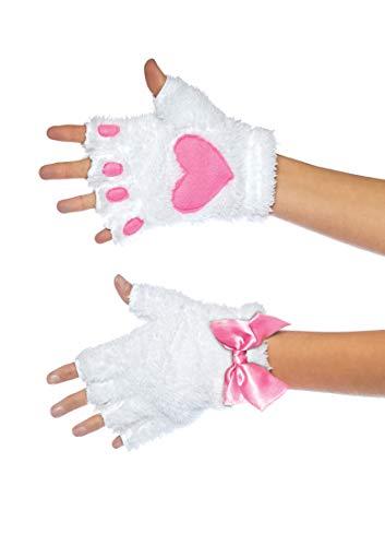 Plüsch Kitty Pfote Fingerloser Handschuh, Damen, Weiß, Einheitsgröße: EUR 36-40 ()