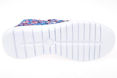 GIBRA® Chaussures de loisir tressé pour femme, bleu/rose, Taille 36–41 Multicolore - Blau/Pink